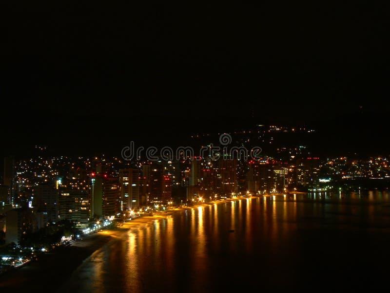 Acapulco Bay, hotel zone with night life stock image