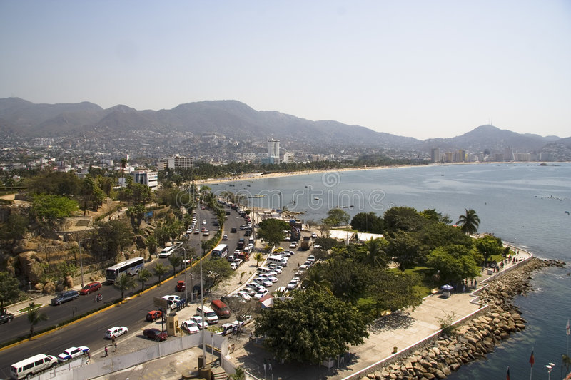 Acapulco Buildings and Bay royalty free stock photography