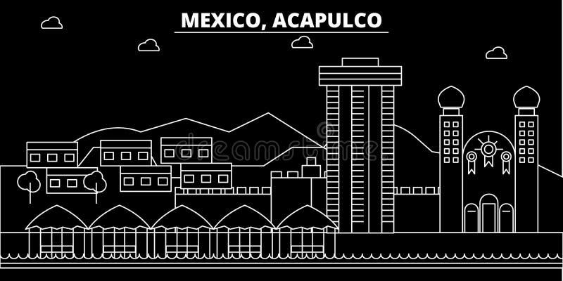 Acapulco konturhorisont Mexico - Acapulco vektorstad, mexikansk linjär arkitektur, byggnader Acapulco lopp stock illustrationer