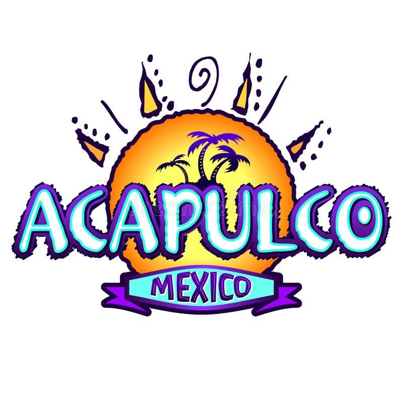 Acapulco Meksyk - ikona, emblemata projekt royalty ilustracja