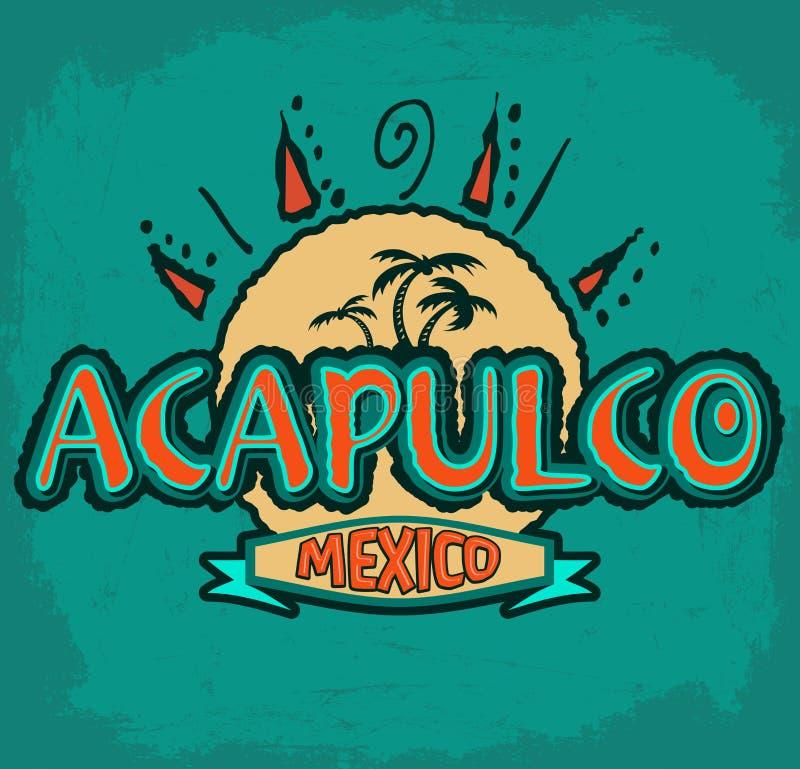 Acapulco Mexico - vectorpictogram, embleemontwerp vector illustratie