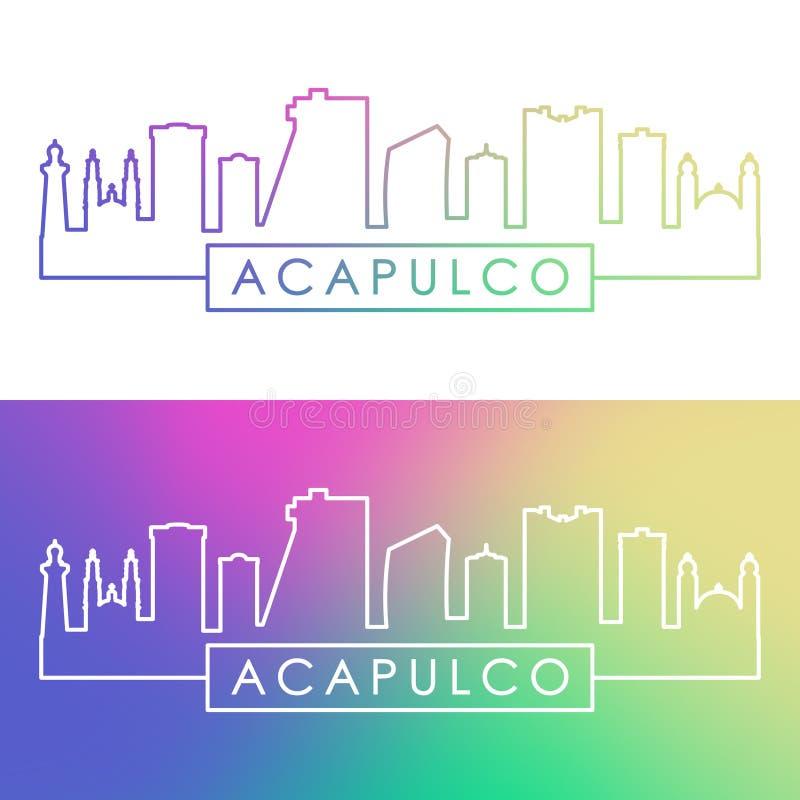 Acapulco miasta linia horyzontu Kolorowy liniowy styl ilustracja wektor