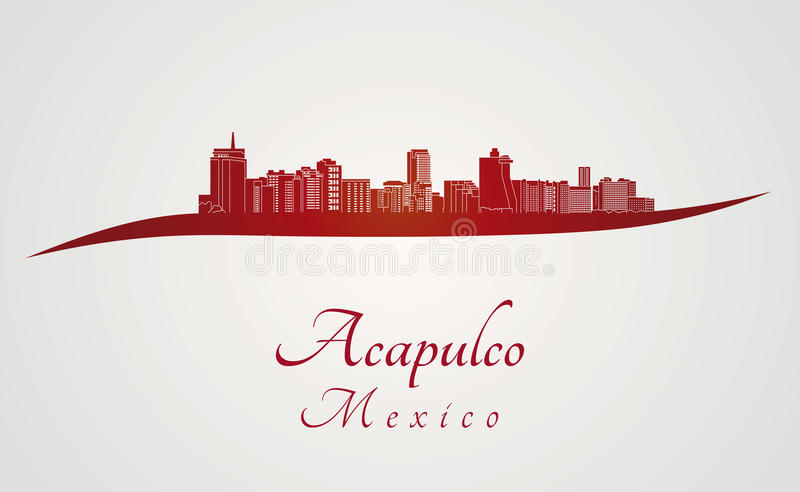 Acapulco skyline in red vector illustration