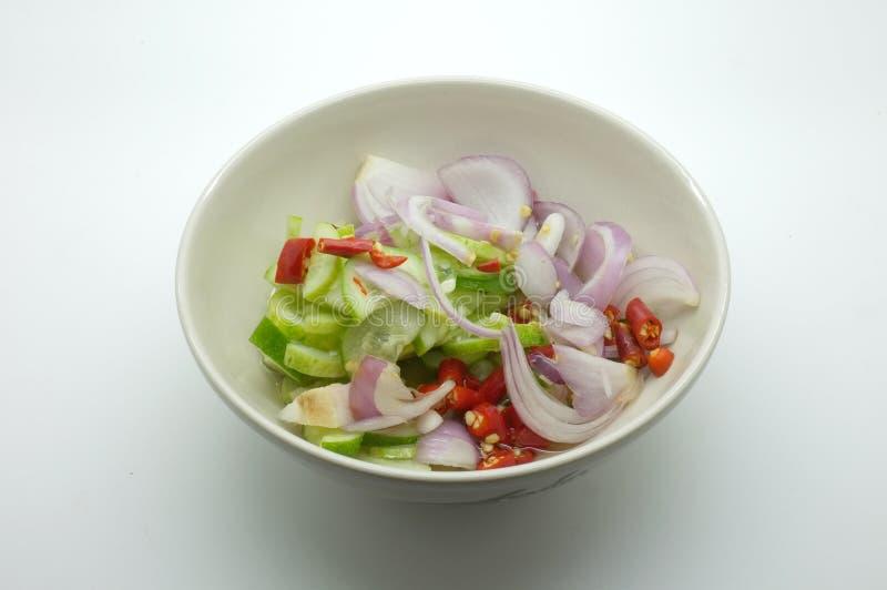 Acar, Ajat, Islamic salad, Vinegar pickled vegetable for grilled pork satay. Thai food stock photography