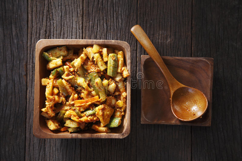 Acar. Or thai salad on the wooden background stock photo