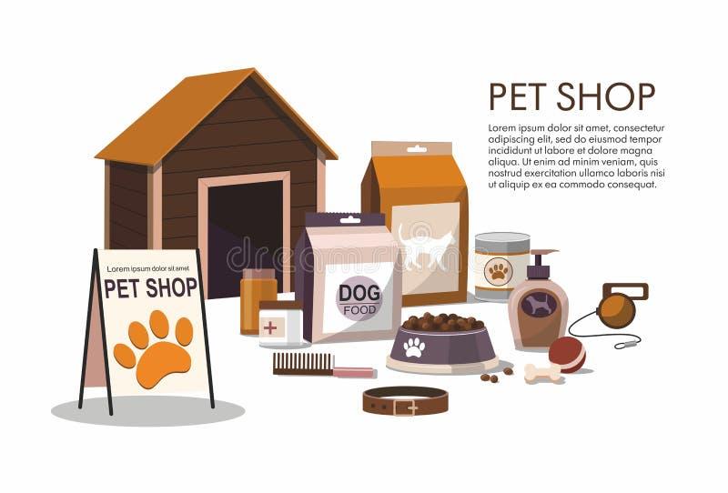 Acaricia los accesorios aislados en el fondo blanco Tienda de animales stock de ilustración