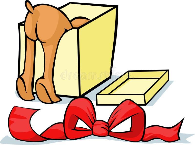 Acaricie buscar un regalo en una caja - vector alegre stock de ilustración