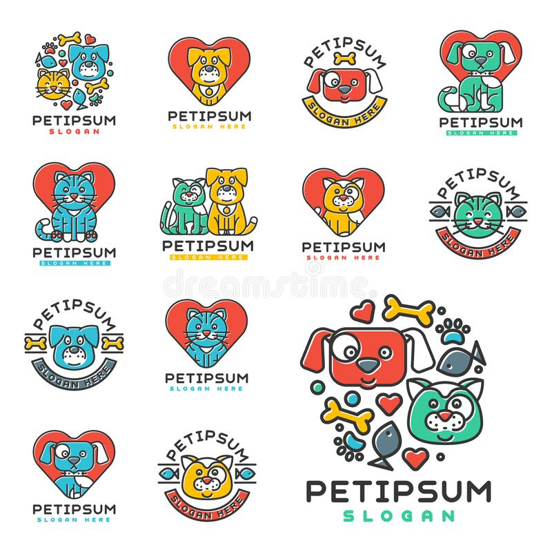 Acaricie el centro médico veterinario del refugio del refugio de la silueta nacional de las insignias del vector del gato y del p ilustración del vector