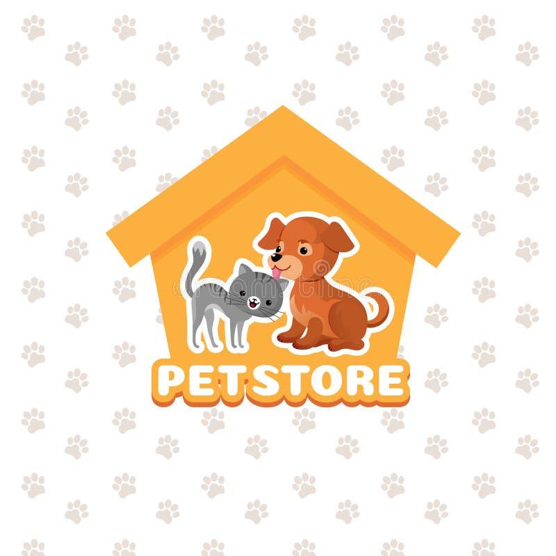 Acaricie el fondo del vector de la tienda con los animales de animales domésticos felices stock de ilustración