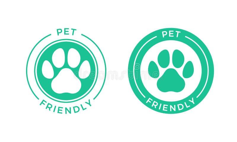 Acaricie el icono amistoso del logotipo para los animales domésticos no prohibidos la muestra del hotel stock de ilustración