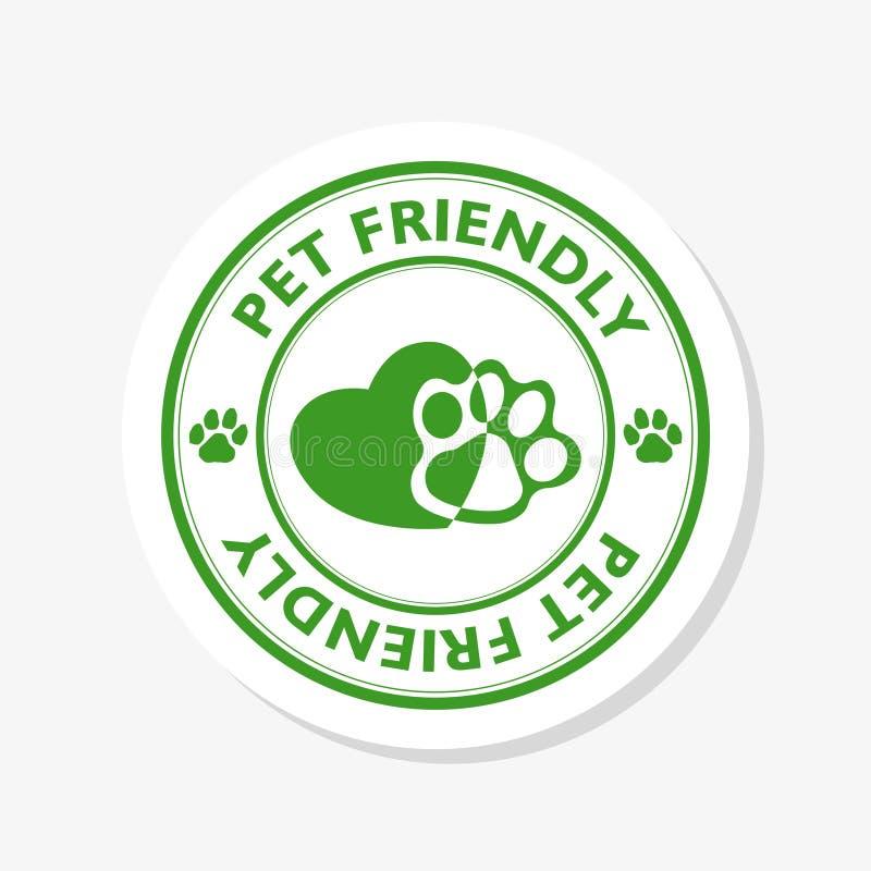 Acaricie el icono amistoso del logotipo para los animales dom?sticos no prohibidos la muestra del hotel Sello agradable animal ilustración del vector