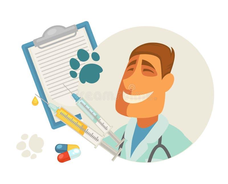 Acaricie el icono plano del doctor del veterinario del vector veterinario animal veterinario de la clínica libre illustration