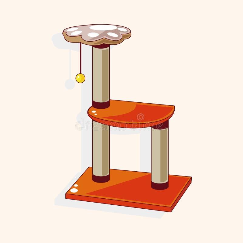 Acaricie el vector de los elementos del tema del árbol del gato, eps10 stock de ilustración