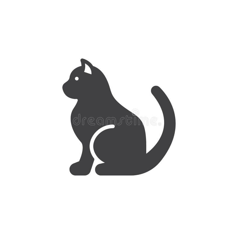 Acaricie el vector del icono del gato, muestra plana llenada libre illustration