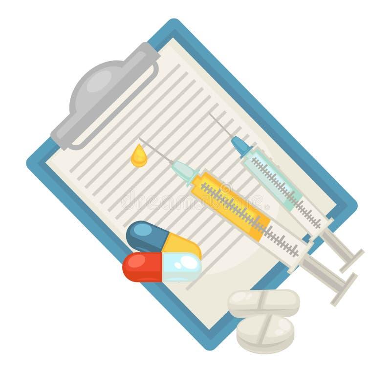 Acaricie las píldoras animales veterinarias de la clínica del veterinario y el icono plano del vector de la jeringuilla de la dia ilustración del vector