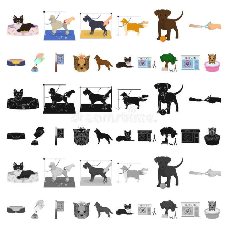 Acaricie los iconos de la historieta en la colección del sistema para el diseño El cuidado y la educación vector el ejemplo común ilustración del vector
