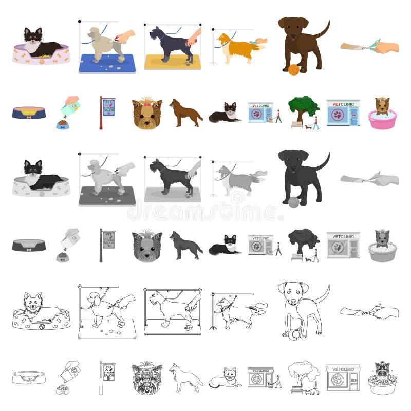 Acaricie los iconos de la historieta en la colección del sistema para el diseño El cuidado y la educación vector el ejemplo común libre illustration