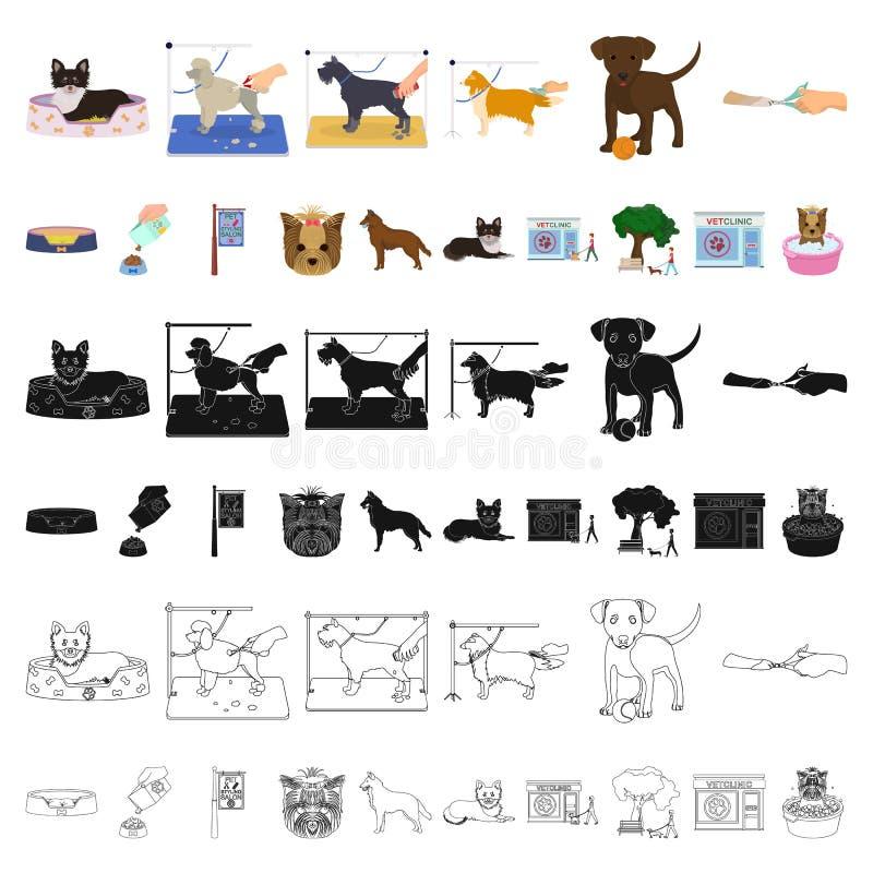 Acaricie los iconos de la historieta en la colección del sistema para el diseño El cuidado y la educación vector el ejemplo común stock de ilustración