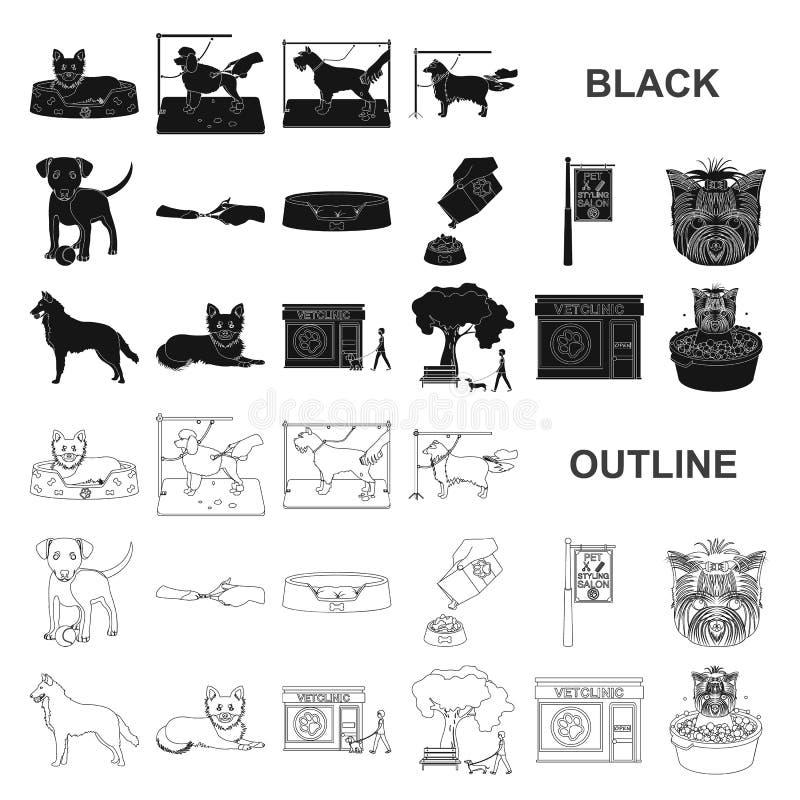 Acaricie los iconos negros en la colección del sistema para el diseño El cuidado y la educación vector el ejemplo común del web d ilustración del vector