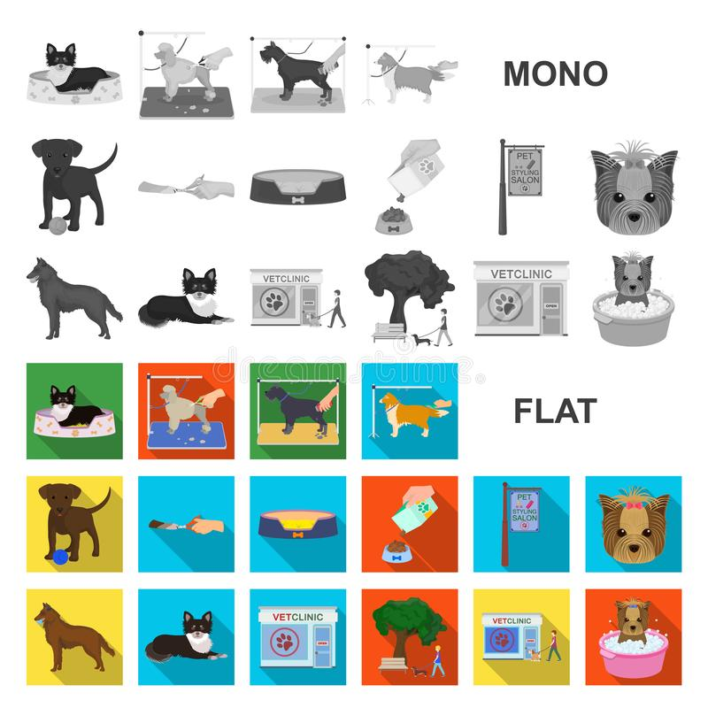 Acaricie los iconos planos en la colección del sistema para el diseño El cuidado y la educación vector el ejemplo común del web d ilustración del vector