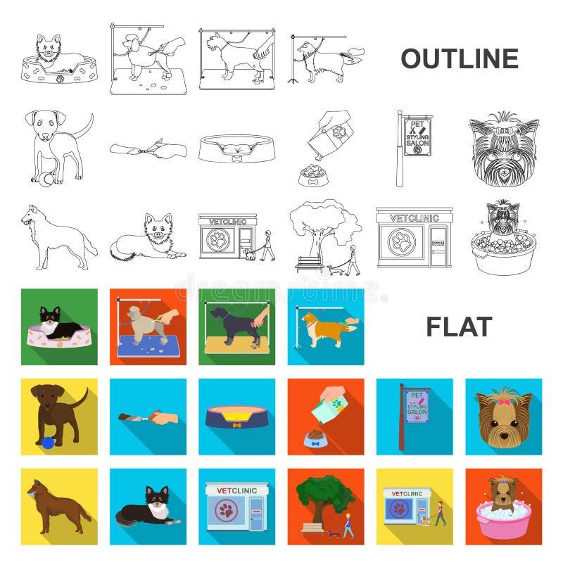 Acaricie los iconos planos en la colección del sistema para el diseño El cuidado y la educación vector el ejemplo común del web d stock de ilustración