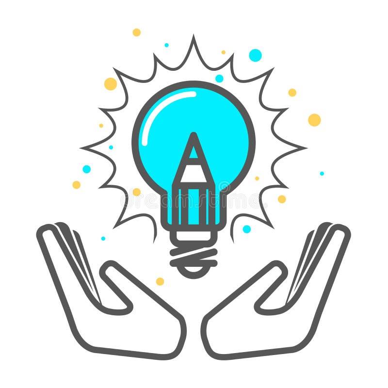 Acaricie una idea creativa - icono de la bombilla, invención stock de ilustración