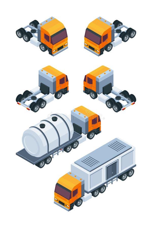 Acarrea isométrico Imágenes del diverso transporte de la carga y de cargo stock de ilustración