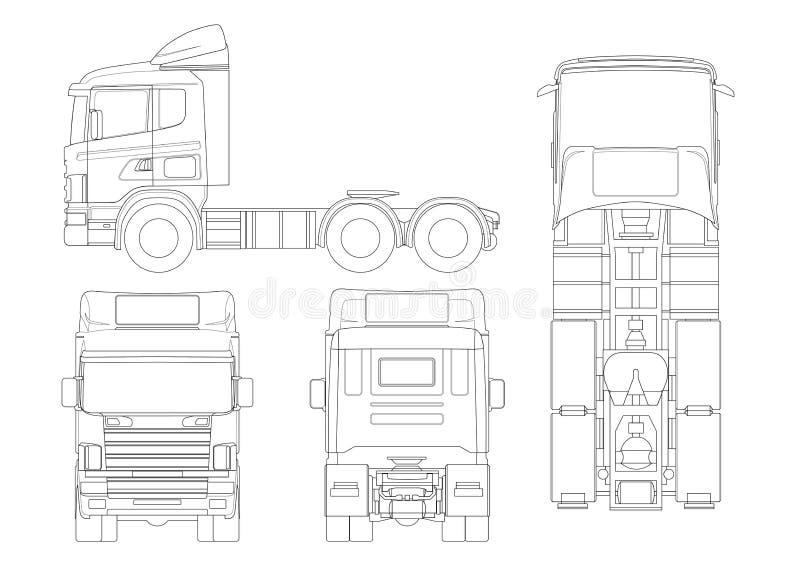 Acarree el camión del tractor o del semi-remolque en la combinación del esquema de una unidad del tractor y de uno o más semi-rem ilustración del vector
