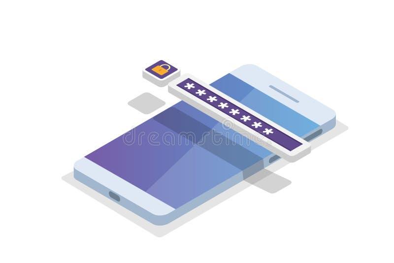 Accès aux données, concept isométrique de mot de passe Forme d'ouverture sur l'écran photographie stock libre de droits