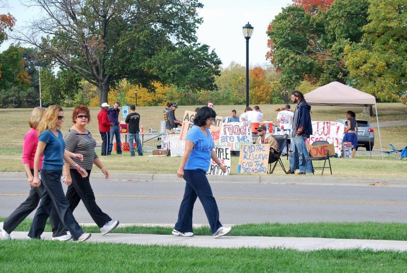 Accampamento &Occupy degli impiegati federali KC di Reserve Bank immagine stock