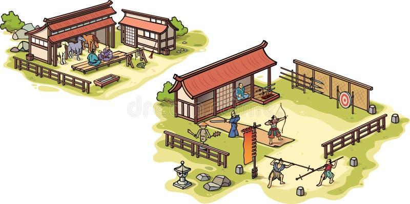 Accampamento di addestramento giapponese antico del samurai e lo sta illustrazione vettoriale