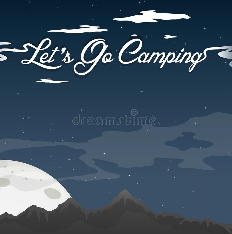 Accampandosi al cielo blu della radura di notte illustrazione di stock