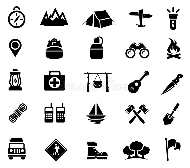 Accampandosi, attività all'aperto, ricreazione, icone illustrazione vettoriale