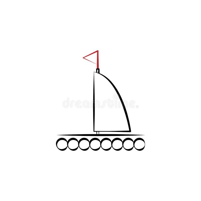 Accampandosi, linea colorata icona della zattera 2 Illustrazione disegnata a mano semplice dell'elemento di colore Accampandosi,  royalty illustrazione gratis