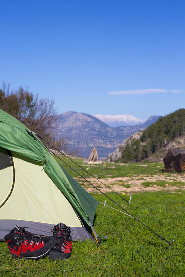 Accampandosi in mezzo al legno, colpo dall'interno della tenda fotografia stock libera da diritti