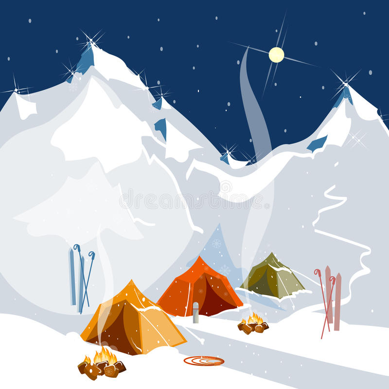 Accampandosi in tende in turismo delle montagne royalty illustrazione gratis