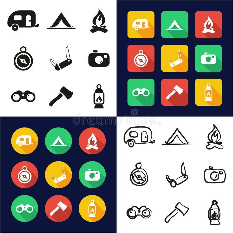 Accampandosi tutti in un insieme a mano libera di progettazione piana bianca e nera di colore delle icone illustrazione di stock