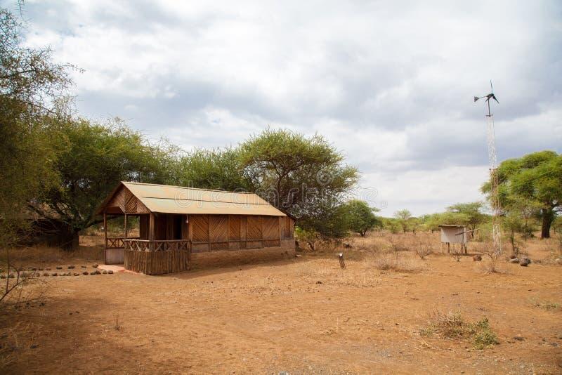 Accampi nella savana del Kenya, sul safari immagine stock libera da diritti