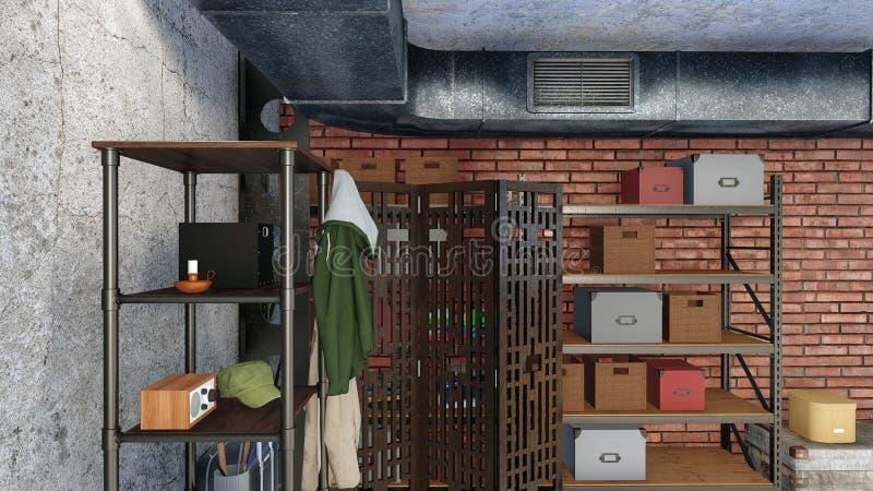 Accantonando nell'interno moderno dell'appartamento del sottotetto immagine stock