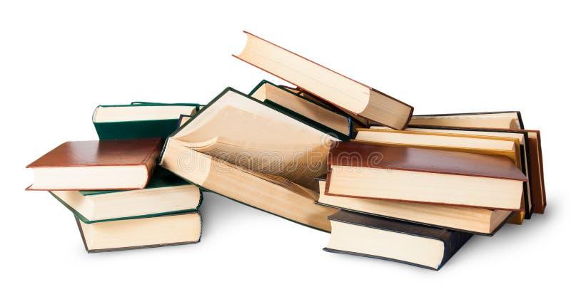 Accatastato su un mazzo di vecchi libri fotografia stock libera da diritti