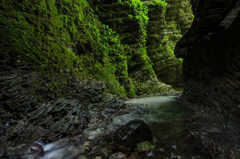 Accedi a alla cascata di Kozjak, Caporetto, Slovenia fotografia stock libera da diritti
