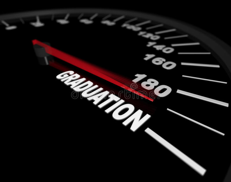 Accelerando verso la graduazione - tachimetro illustrazione di stock