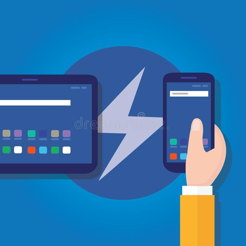 Accelerated mobile pages fast in smart phone. Optimized speed programming coding fast lightning bolt thunder icon fast charging vector stock illustration