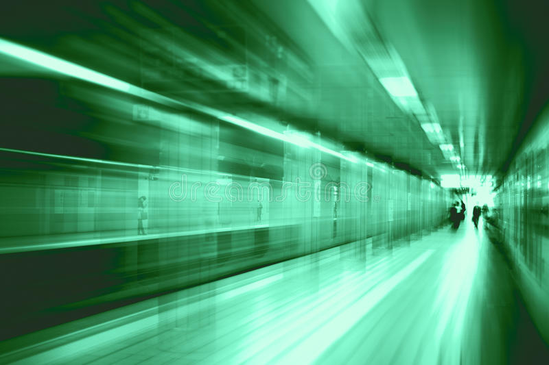 Acceleration super fast speedy motion blur of train station for background design. royalty free stock photography