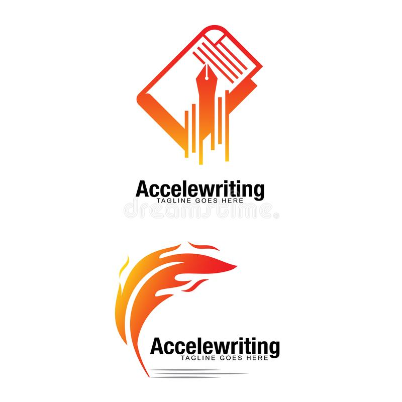 Accelewriting conceot vector logo for fast writing idea.  royalty free illustration