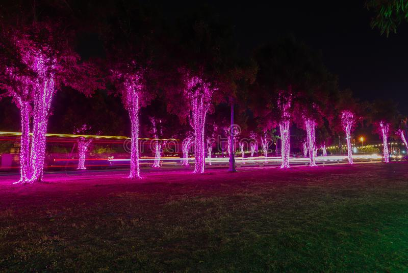 Accenda il festival con bella illuminazione nella notte a Ayutthaya, Tailandia fotografia stock