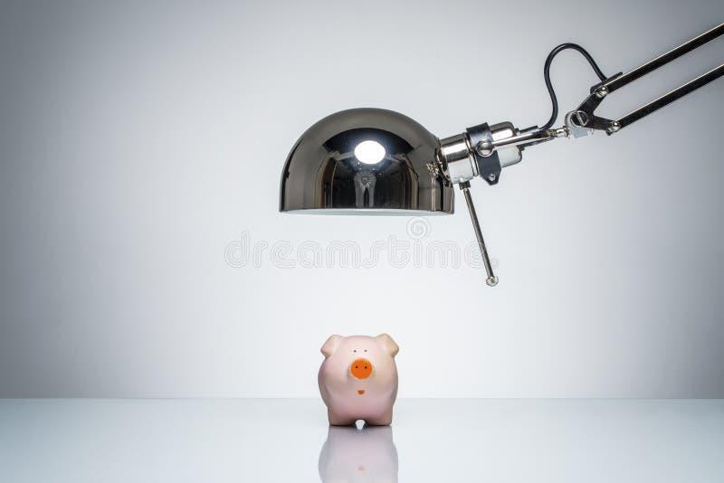 Accendere porcellino salvadanaio rosa con la lampada di scrittorio immagine stock