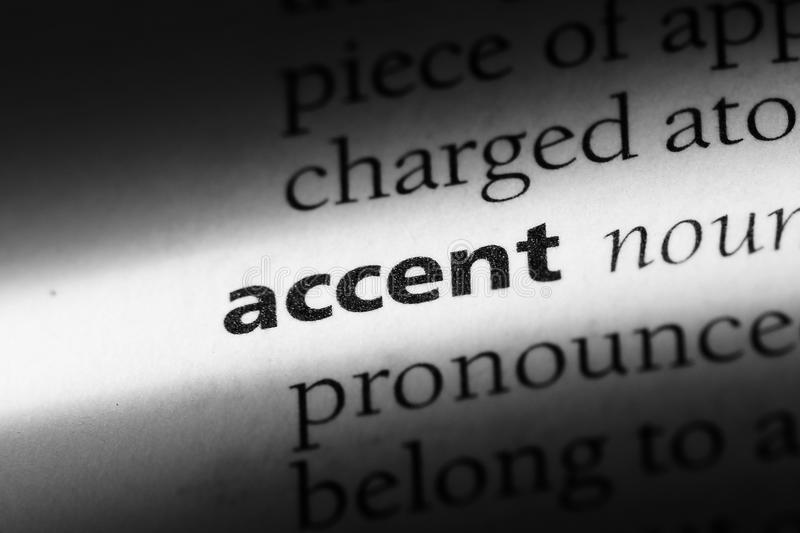 Accent. Word in a dictionary.  concept royalty free stock photography