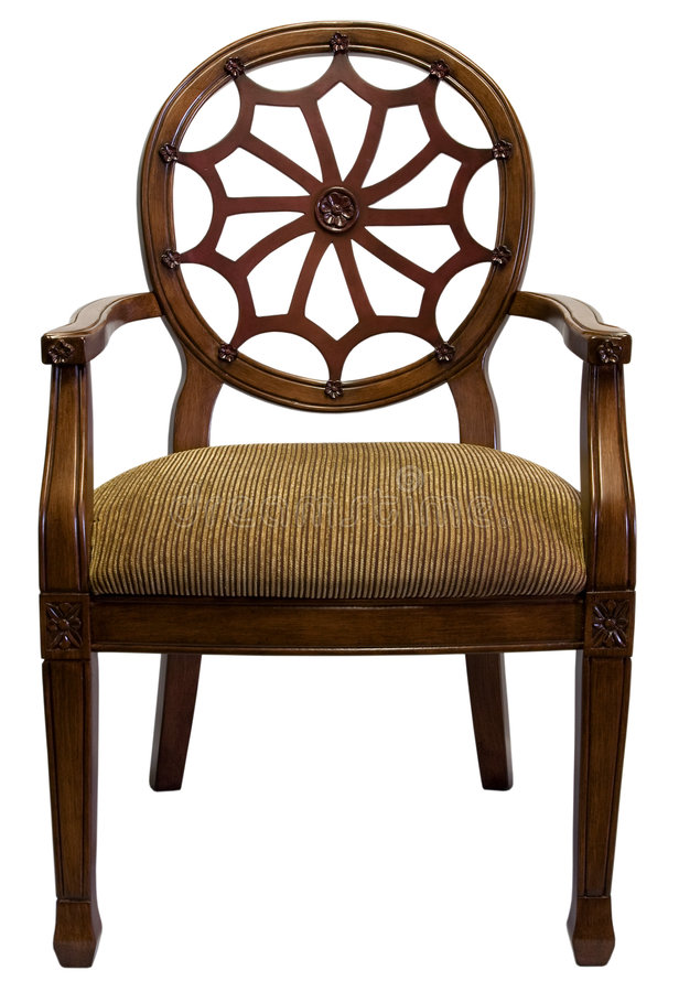 Accent Chair. Traditional Style Accent Chair in Cherry Wood Trim stock photography