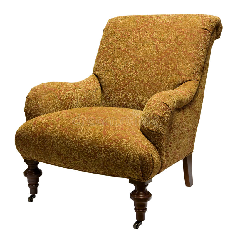 Accent Chair. Traditional Style Accent Chair in Gold Fabric stock photo